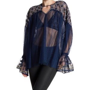Free People blue joyride sheer embroidered top